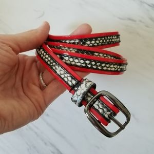 Black and Red Vegan Snakeskin Belt
